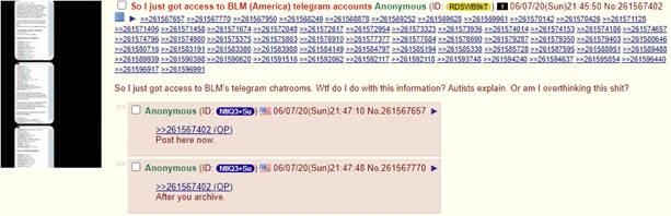 Screenshot of 4chan thread discussing raids on BLM channels